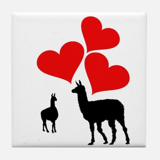 Hearts & Llamas Tile Coaster
