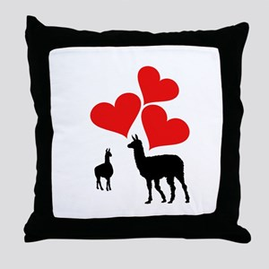 Hearts & Llamas Throw Pillow