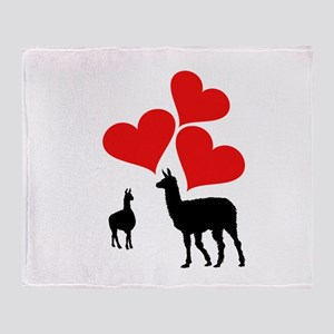 Hearts & Llamas Throw Blanket