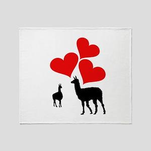 Hearts & Llamas Throw Blanket