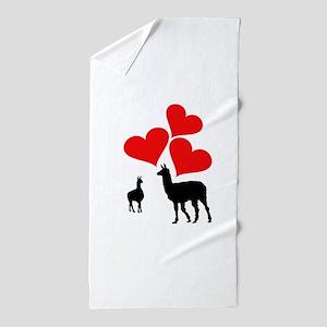 Hearts & Llamas Beach Towel