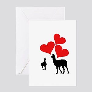 Hearts & Llamas Greeting Cards