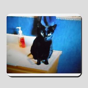 Black Wishing Witch Cat Mousepad
