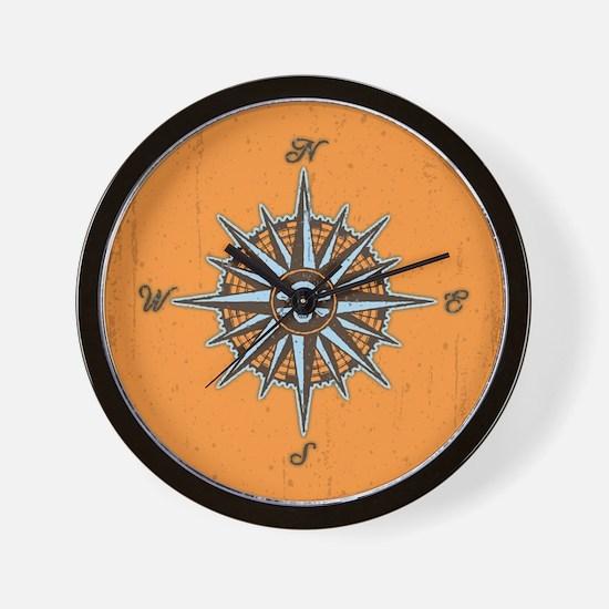 Pirate Compass V Wall Clock
