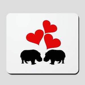 Hearts & Hippos Mousepad