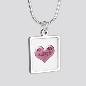Do not Resuscitate Pink Heart Silver Square Neckla