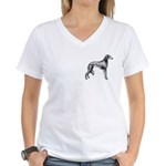 Saluki Silhouette Women's V-Neck T-Shirt