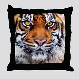 Male Siberian Tiger Throw Pillow