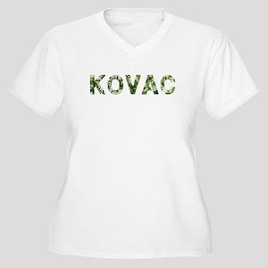 Kovac, Vintage Camo, Women's Plus Size V-Neck T-Sh