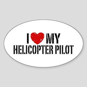 I Love My Helicopter Pilot Sticker (Oval)