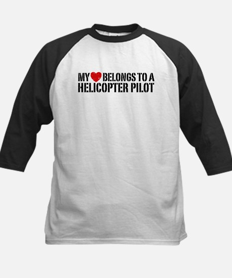 My Heart Helicopter Pilot Kids Baseball Jersey