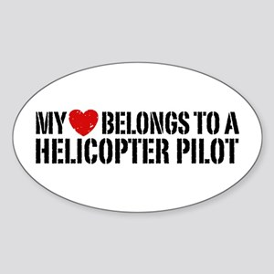 My Heart Helicopter Pilot Sticker (Oval)