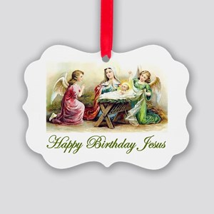 Happy Birthday Jesus Picture Ornament