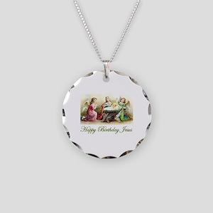 Happy Birthday Jesus Necklace Circle Charm