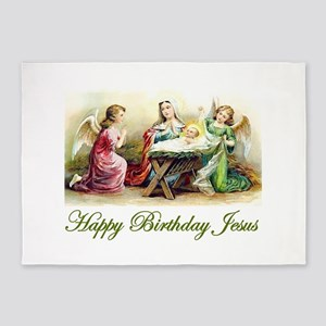 Happy Birthday Jesus 5'x7'Area Rug