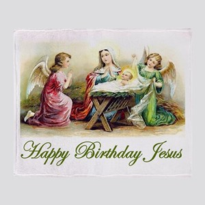 Happy Birthday Jesus Throw Blanket