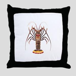 Spiny Lobster - Rock Lobster Logo Throw Pillow