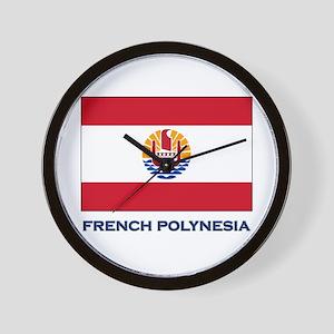 French Polynesia Flag Stuff Wall Clock