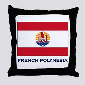 French Polynesia Flag Stuff Throw Pillow
