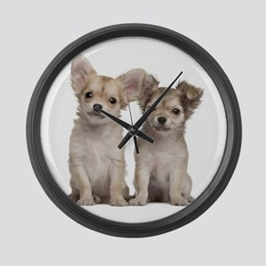 Chihuahua Puppies Large Wall Clock