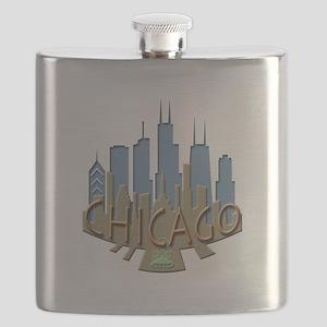 Chicago Skyline Newwave Beachy Flask