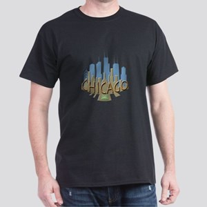 Chicago Skyline Newwave Beachy Dark T-Shirt