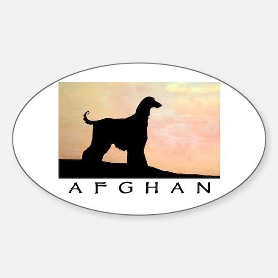 afghan hound orange sunset Oval Decal