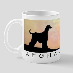 afghan hound orange sunset Mug