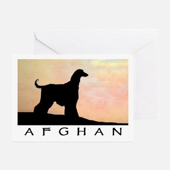 afghan hound orange sunset Greeting Cards (Package