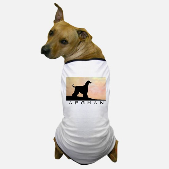 afghan hound orange sunset Dog T-Shirt