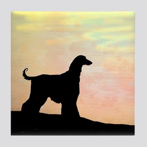 afghan hound orange sunset Tile Coaster