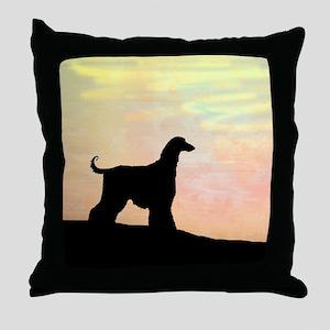 afghan hound orange sunset Throw Pillow