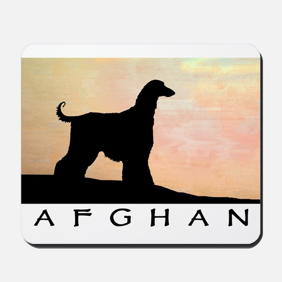 afghan hound orange sunset Mousepad