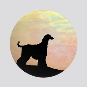 afghan hound orange sunset Ornament (Round)