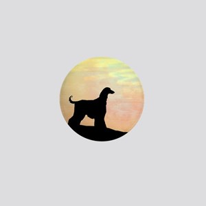 afghan hound orange sunset Mini Button