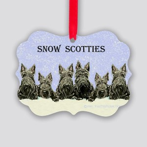 Snow Scottish Terriers Picture Ornament