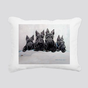 Snow Scottish Terriers Rectangular Canvas Pillow