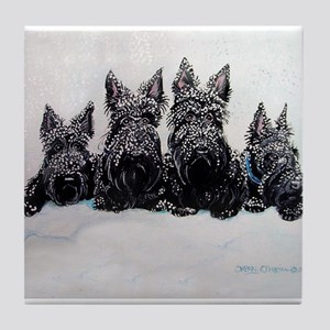 Snow Scottish Terriers Tile Coaster