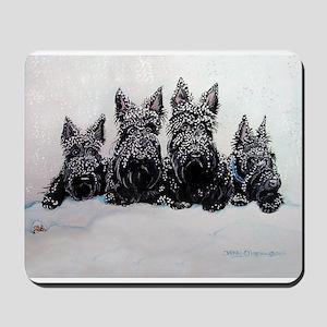 Snow Scottish Terriers Mousepad