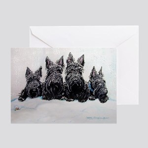 Snow Scottish Terriers Greeting Card