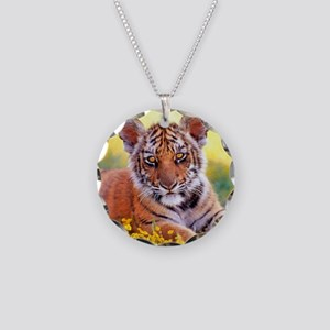 Tiger Baby Cub Necklace Circle Charm