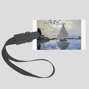 Claude Monet Sailboat Large Luggage Tag