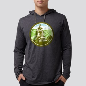 Ride On Lawn Mower Vintage Retro Mens Hooded Shirt