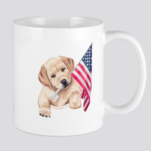 Flag Bearer Yellow Lab puppy Mug