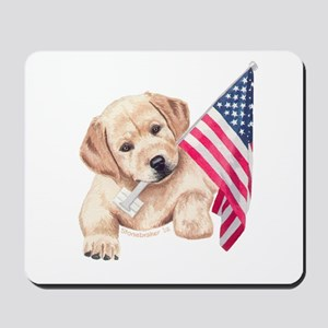 Flag Bearer Yellow Lab Pup Mousepad