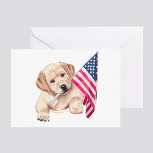 Patriotic Yellow Lab Greeting Cards  (6)