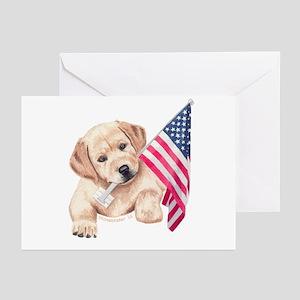 Patriotic Yellow Lab Greeting Cards  (6)