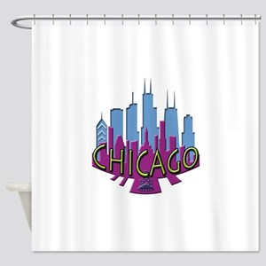 Chicago Skyline Newwave Cool Shower Curtain
