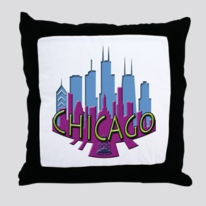 Chicago Skyline Newwave Cool Throw Pillow