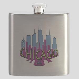 Chicago Skyline Newwave Cool Flask